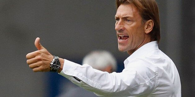 FC Sochaux's coach Herve Renard reacts during their French Ligue 1 soccer match against AS Monaco at...
