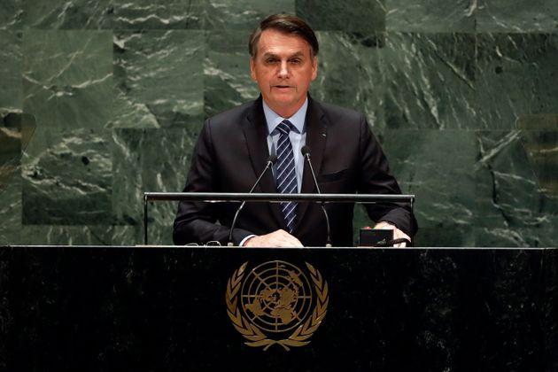 Brazil's President Jair Bolsonaro addresses the 74th session of the United Nations General Assembly,...