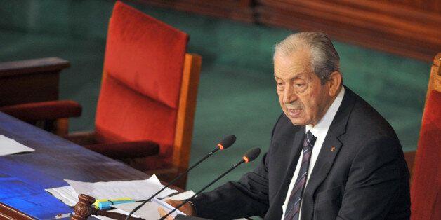 Tunisian President of the Assembly Mohamed Ennaceur addresses the Tunisian parliament in Tunis on November...