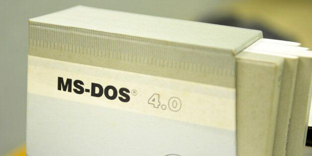 MS-DOS 4.0 computer software sits inside a former regional government nuclear bunker in Ballymena, U.K.,...