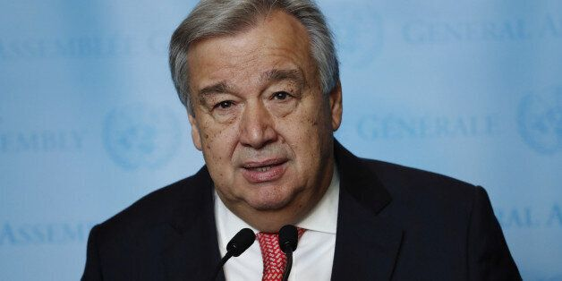 United Nations Secretary-General-designate Mr. Antonio Guterres of Portugal speaks to members of the...