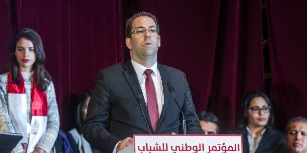 TUNIS, TUNISIA - DECEMBER 28: Tunisian Prime Minister Youssef Chahed gives a speech during the National...