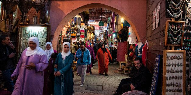THE MEDINA, MARRAKECH, MOROCCO - 2014/01/05: The souk is full of souvenirs shops and people. (Photo by...
