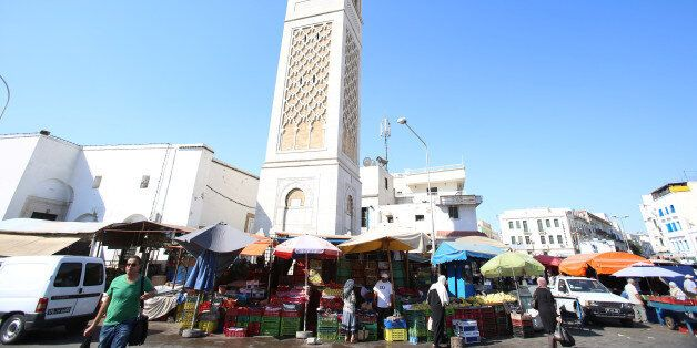 Fruits and vegetables are seen on a street market at square Sidi El Bechir in the old city in Tunis,...