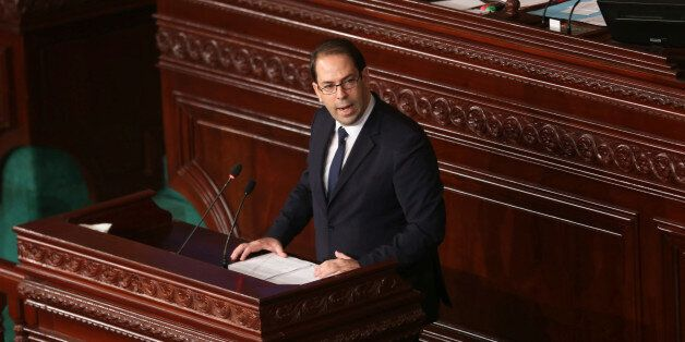 Tunisia's Prime Minister designate Youssef Chahed speaks at the Assembly of People's Representatives...