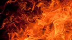 Relizane: incendie impressionnant dans une base de vie