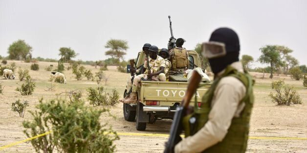 Niger Army armed forces patrol during a visit of Niger's Interior Minister to a camp for displaced populations...