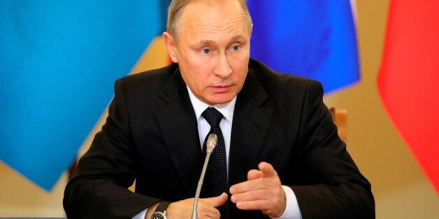 Russian President Vladimir Putin attends a session of the Collective Security Treaty Organisation (CSTO)...