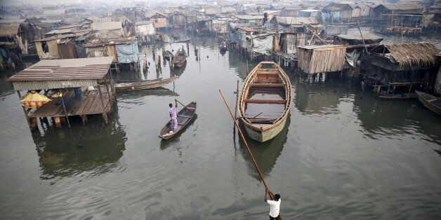 A view of the Makoko fishing community is seen from top of a floating school on the Lagos Lagoon, Nigeria...