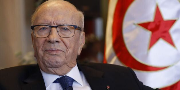 Tunisia's President Beji Caid Essebsi is pictured prior to a lunch with the Cercle des Medias association...