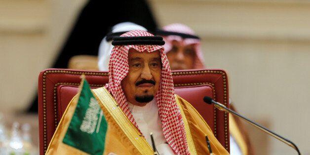 Saudi King Salman bin Abulaziz Al-Saud attends the first Gulf Cooporative Council's