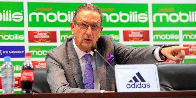 ALGIERS, ALGERIA - NOVEMBER 01: New Algeria soccer team's new head coach Georges Leekens gives a speech...