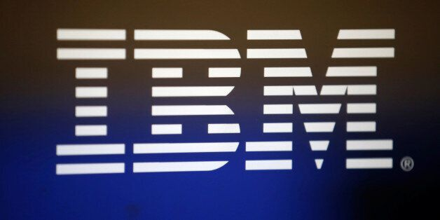 The logo of Dow Jones Industrial Average stock market index listed company IBM (IBM) is seen on a computer...