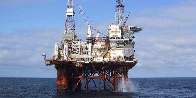 The North Sea oil platform Thistle Alpha is seen in this undated handout photograph, received in London...