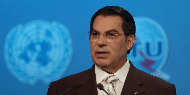 TUNIS, Tunisia: Tunisian President Zine El Abidine ben Ali gives a speech during the closing ceremony...