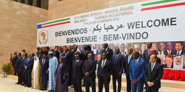 MALABO, EQUATORIAL GUINEA - NOVEMBER 23: Leaders pose for a family photo before the opening session of...