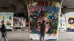 Fresque géante au Pont de la République vue par Hamideddine Bouali, en 7