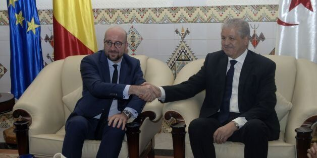 Belgian Prime Minister, Charles Michel (L) meets with Algerian Prime Minister Abdelmalek Sellal upon...