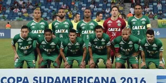 Players of Brazil's team Chapecoense pose for pictures during their 2016 Copa Sudamericana football match...