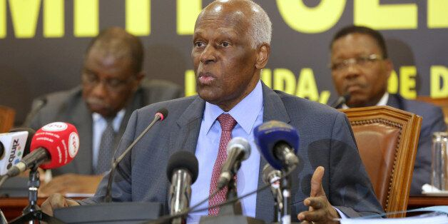 Angolan President and MPLA leader, Jose Eduardo dos Santos attends a party central committee at a meeting...