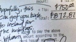 Ce serveur a reçu 750 dollars de