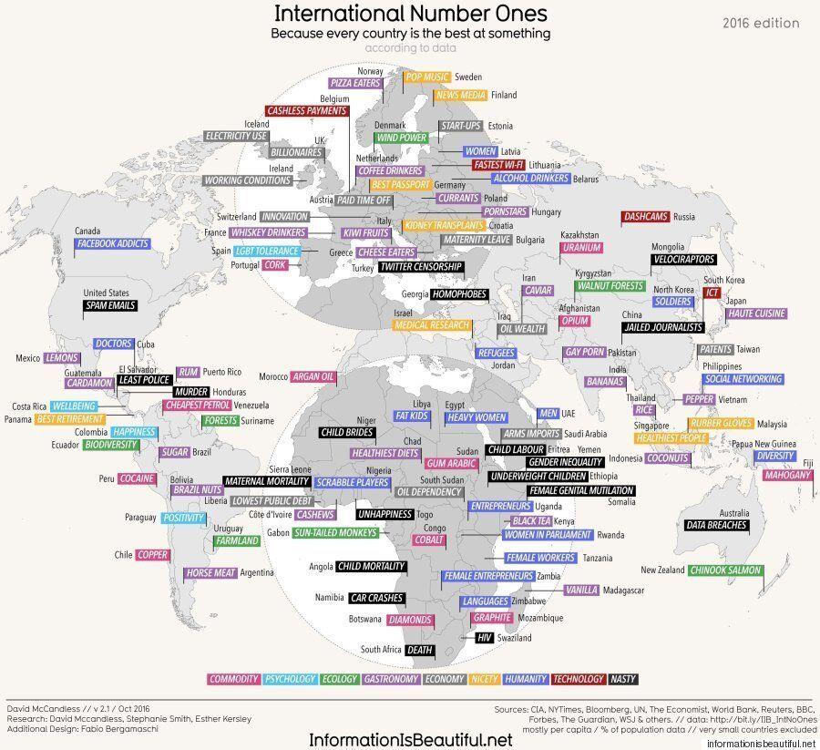 Cette carte présente chaque pays selon le domaine dans lequel il