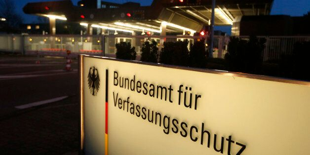 Germany's intelligence agency Verfassungsschutz is pictured during a visit by German Interior Minister...