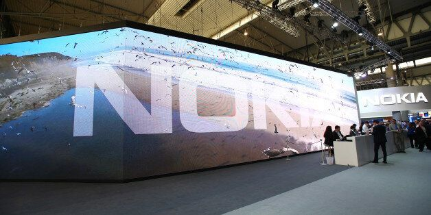 The Nokia logo is displayed at the Nokia pavillon during day four of the Mobile World Congress at the...