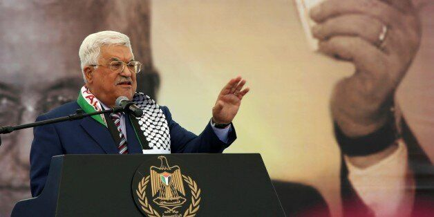 RAMALLAH, WEST BANK - NOVEMBER 10: Palestinian President Mahmoud Abbas delivers a speech during a commemoration...