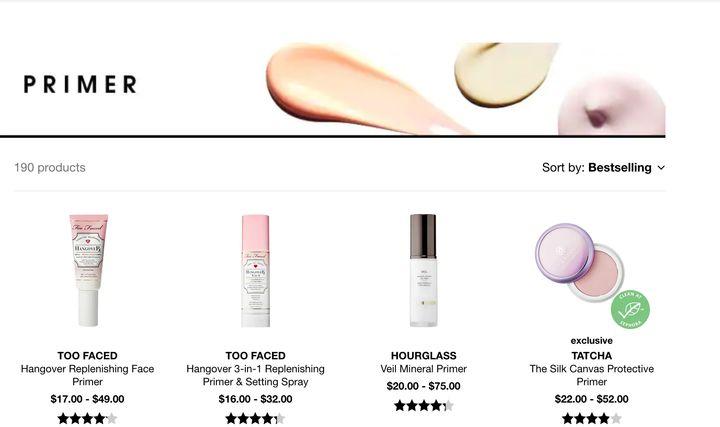Sephora carries 190 varieties of face primer.