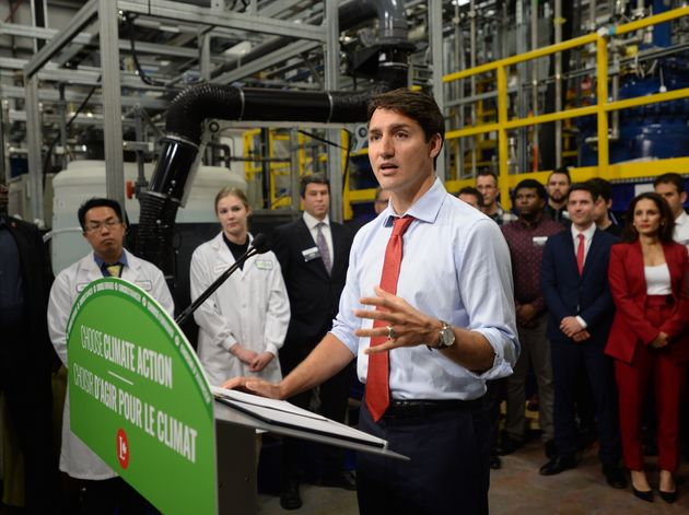 Justin Trudeau, Liberal Party leader, speaks during his visit to Nano One Materials in Burnaby,...