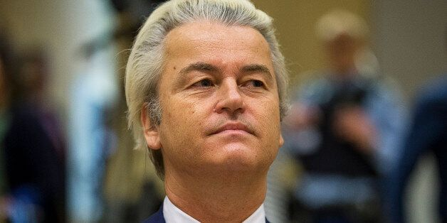 Dutch far-right Party for Freedom (PVV) leader Geert Wilders sits in a courtroom of the courthouse in...