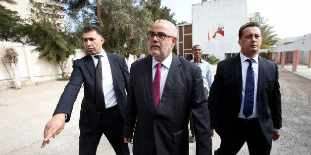 Abdelillah Benkirane, secretary-general of the Islamist Justice and Development party (PJD), arrives...