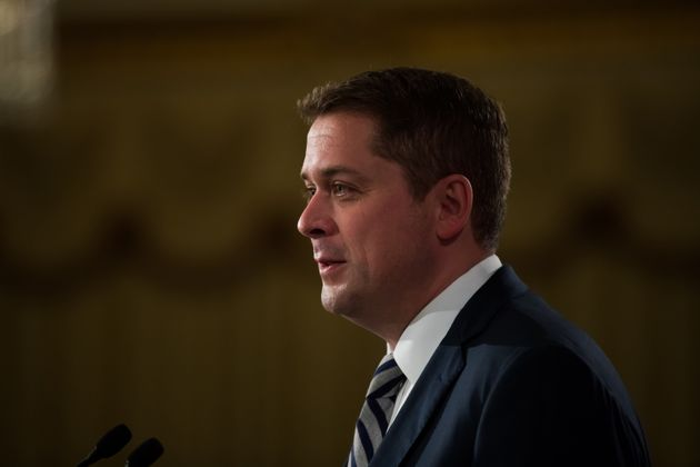 Conservative Leader Andrew Scheer delivers a speech at an event hosted by the Canadian Club of Vancouver...