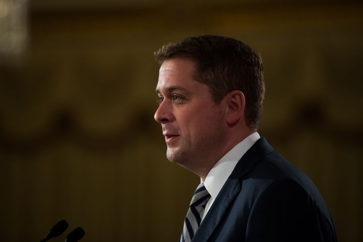 Conservative Leader Andrew Scheer delivers a speech at an event hosted by the Canadian Club of Vancouver on May 24, 2019.