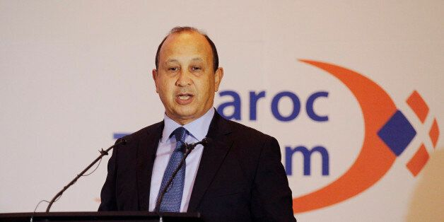 Maroc Telecom Chairman Abdeslam Ahizoune gestures during the company's full-year results news conference...