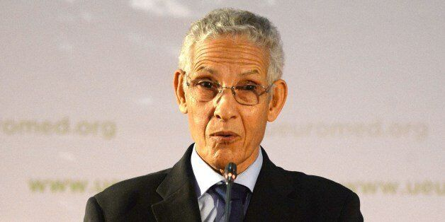 Moroccan Minister of Higher education, Lahcen Daoudi speaks during the launching of the Euro-Mediterranean...
