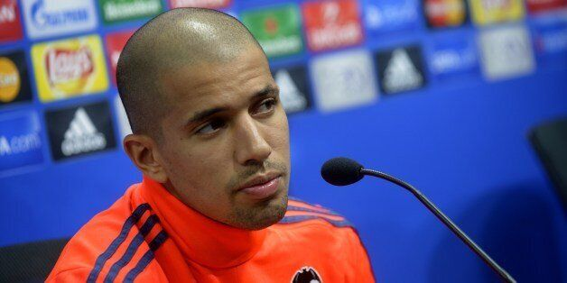 Valencia's French midfielder Sofiane Feghouli looks on during a press conference at the Valencia's Sport...