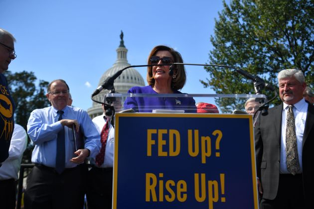 House Speaker Nancy Pelosi speaks at a Fed Up? Rise Up! rally outside the US Capitol in Washington, DC...