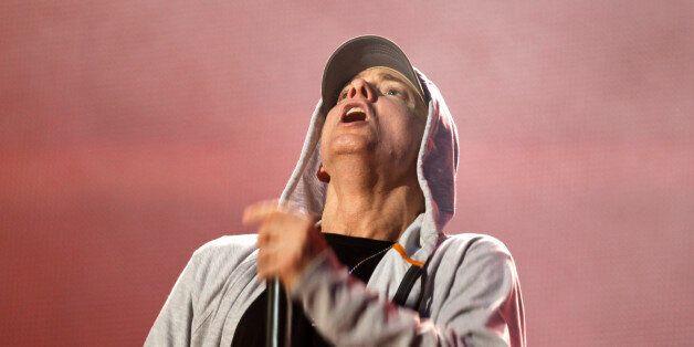 U.S. rapper Eminem performs during the Abu Dhabi F1 Grand Prix After Race closing concert at the du Arena...