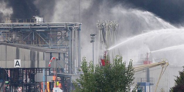 Firemen try to extinguish the fire in the Chemical plant of the BASF site in Ludwigshafen, western Germany...