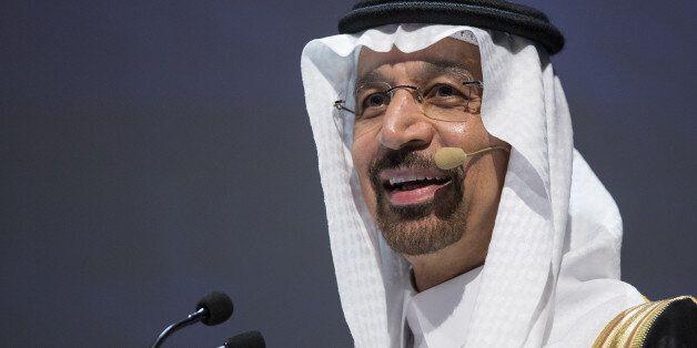 Khalid Al-Falih, Saudi Arabia's energy minister, speaks during the 23rd World Energy Congress in Istanbul,...