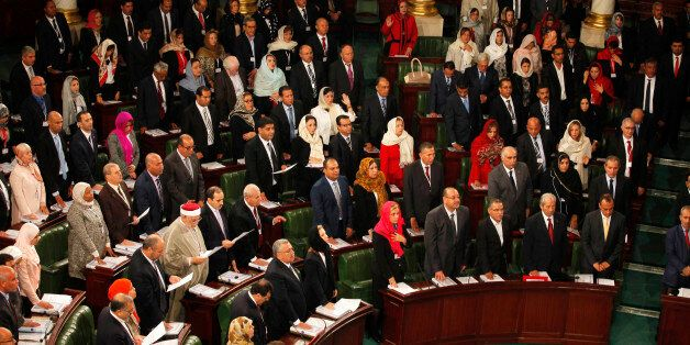 Members of the Tunisian parliament take oath in Tunis December 2, 2014. Tunisia's first full elected...