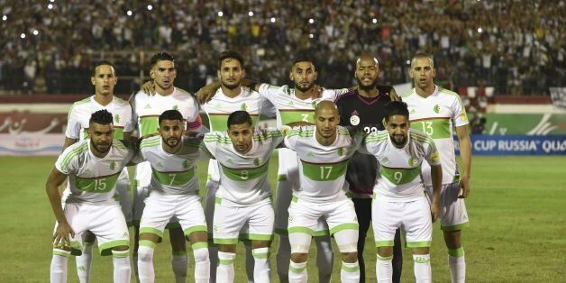 Algeria's national football team players (Front row from L) Hilal Soudani El Arabi, Karim Mahrez Riad,...