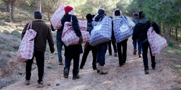 In this photo dated Saturday, Feb. 14, 2015, migrants head back to their mountain camp near the coast...