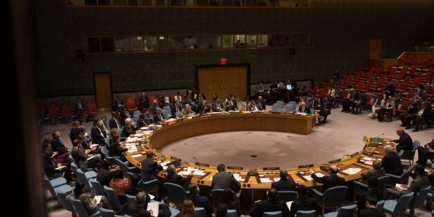 An overall view of a United Nations Security Council emergency meeting on the situation in Syria, at...
