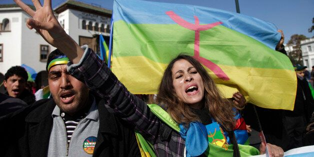 Local Amazigh people attend a rally in celebration of the Amazigh New Year, and also to express solidarity...