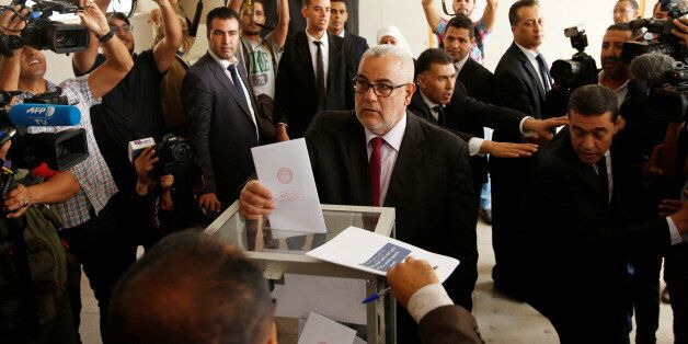 Abdelillah Benkirane, secretary-general of the Islamist Justice and Development party (PJD), casts his...
