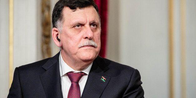 PARIS, FRANCE - SEPTEMBER 27: Prime Minister of Libya Fayez El Sarraj holds a joint press conference...