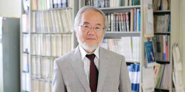 Yoshinori Ohsumi, a professor in Tokyo Institute of Technology is seen at his laboratory office in Yokohama,...
